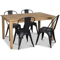 Österlen matgrupp, Klassiskt 140 cm matbord i ek med 4 st svarta metallstolar