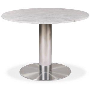 Next 105 runt matbord - Borstad stål / Marmor (Vit)