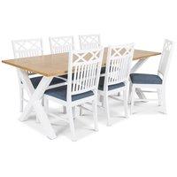 Isabelle matgrupp - Bord inklusive 6 st Herrgård Gripsholm stolar med blå sits - Vit/ekbets