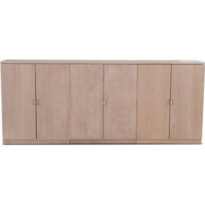 Level sideboard med släta dörrar B210 cm - Whitewash