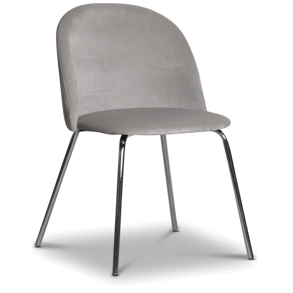 Giovani velvet stol GråbeigeKrom