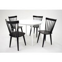 Sarek matgrupp - Bord inklusive 4 st stolar - Vit / svart
