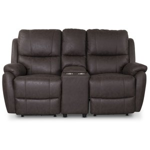 Enjoy Hollywood Biosoffa - 2-sits recliner (el) i brunt microfibertyg