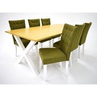 Isabelle matgrupp - Bord inklusive 6 st Crocket stolar - Vit/ek