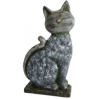 Trädgårdskonst sittande katt - H48 cm
