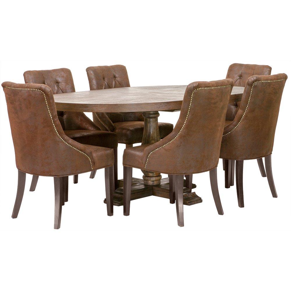 Matgrupp: Lamier matbord runt + 6 st Tuva Europa stolar mocca
