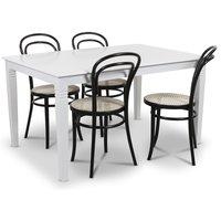 Mellby matgrupp 140 cm bord med 4 st svarta Thonet No14 stolar - Vit / Svart