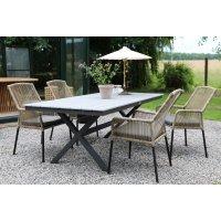 Stokke utematgrupp bord inkl. 4 stolar - Grå/Svart/Natur