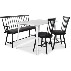 Visby matgrupp - Vitt bord med 2 st Småland pinnstolar och 1 st Småland pinnsoffa - Vit / Svart