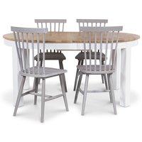 Dalarö matgrupp ovalt bord vit/oljad ek + 4 st gråa pinnstolar