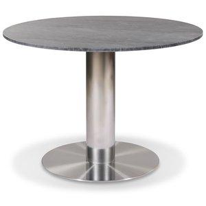 Next runt matbord D105 cm - Borstad stål / Marmor (Grå) & 3690.00