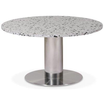Next 85 runt soffbord - Borstad stål / terrazzo (Cosmos)