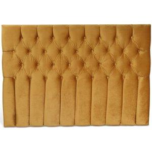 Presley sänggavel med knappar (Guld sammet) - Valfri bredd