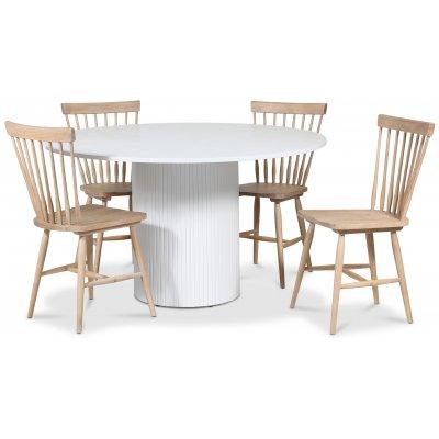 Pose matgrupp: Bord Ø130 cm inklusive 4 st pinnstolar - Vitbetsad ek