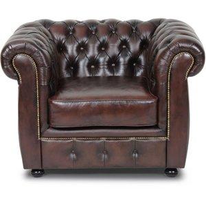Dublin chesterfield fåtölj - Brunt läder