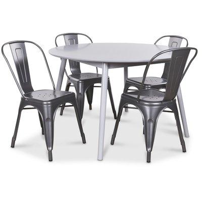 Göteborg matgrupp grått runt bord med 4 st Industry Plåtstolar - Grå / Metall