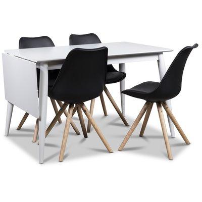 Twister matgrupp, klaffbord Tärnö 120 cm med 4 st svarta Twist matstolar