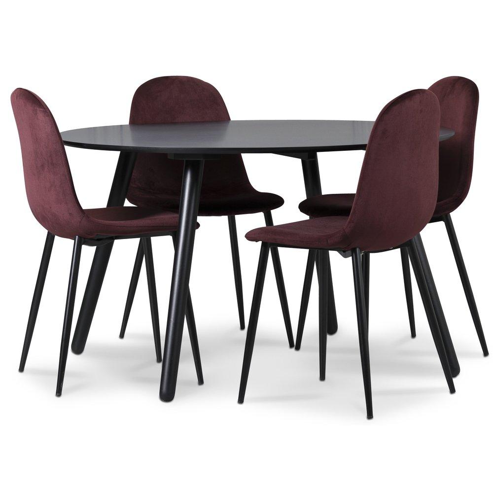 Rosvik matgrupp, matbord med 4 st Carisma sammetsstolar BordeauxSvart