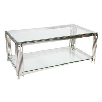 Prato soffbord 130 - Krom/glas