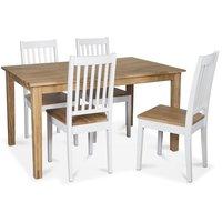 Österlen matgrupp, Klassiskt 140 cm matbord i ek med 4 st vita Simris matstolar med oljad ek-sits