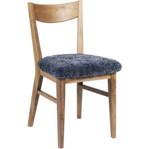 Kinley stol - Lacked ek/grått fårskinn