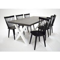 Farmer matgrupp - Bord inklusive 6 st stolar - Grå / svart