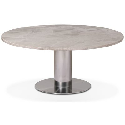 Next 105 runt soffbord - Borstad stål / marmor (Beige)