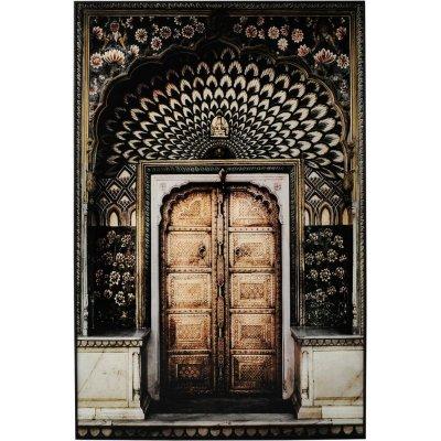 Glastavla Gul dörr - Svart ram