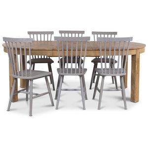 Dalarö matgrupp Ovalt matbord oljad ek + 6 st grå pinnstolar