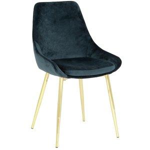 Theo stol - Blå sammet Guldfärgade ben