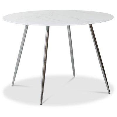 Art runt matbord 110 cm - Marmorerat glas / Krom