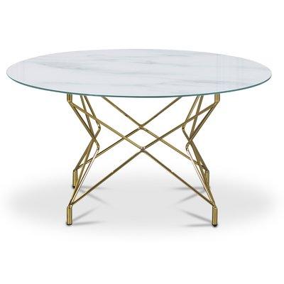 Soffbord Star 90 cm - Vitt marmorerat glas / mässingsfärgat underrede