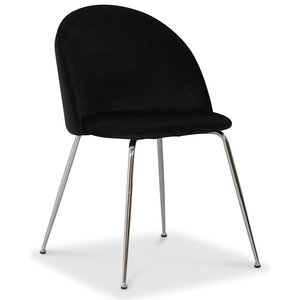 Art velvet stol - Svart / Krom