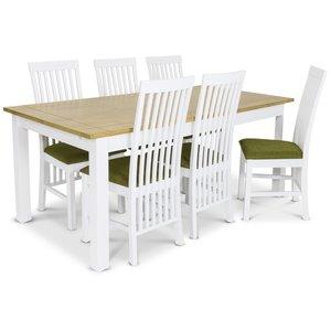 Skagen matgrupp - 180 cm Bord inklusive 6 st Herrgård Vindö stolar med grön sits - Vit/Ekbets
