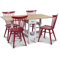 Signum matgrupp Slagbord vit/ek med 4 st röda Thor pinnstolar