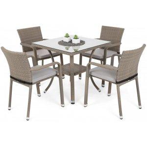 Matgrupp Sumba bord + 4 stolar & sittdynor - Beige melerad