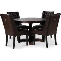 Lamier matgrupp Bord med 4 st Windsor stolar i brunt PU med rygghandtag