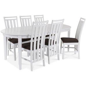 Sandhamn Matgrupp ovalt bord med 6 st Skagen stolar i Brunt tyg