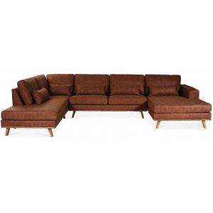 Ranger U-soffa med öppet avslut vänster - Cognac läder