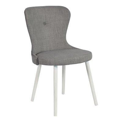 Betty stol med vita ben - Ljusgrått tyg