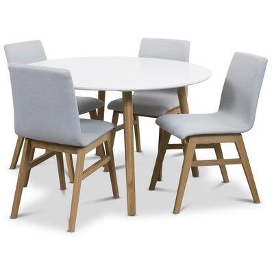 Rosvik matgrupp Runt bord vit/ek med 4 st Molly stolar ek / Ljusgrå