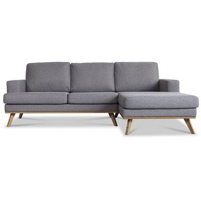 Ventura soffa med öppet avslut - Ljusgrå (tyg)