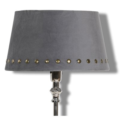 Velvet lampskärm med nitar 33 cm - Grå / Mässing