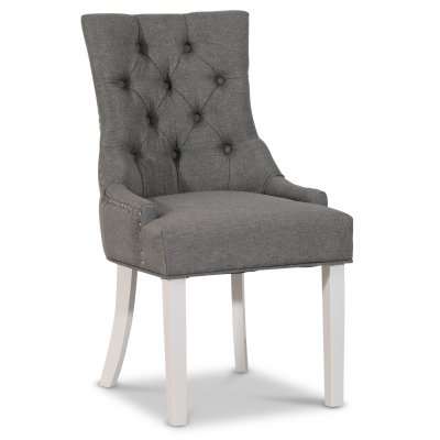 Decotique stol med kromade nitar (Rygghandtag) - Grå/Vit