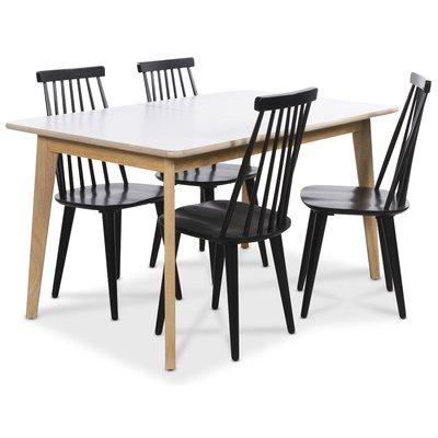 Holger matgrupp 140 cm bord med 4 st svarta Dalsland pinnstolar