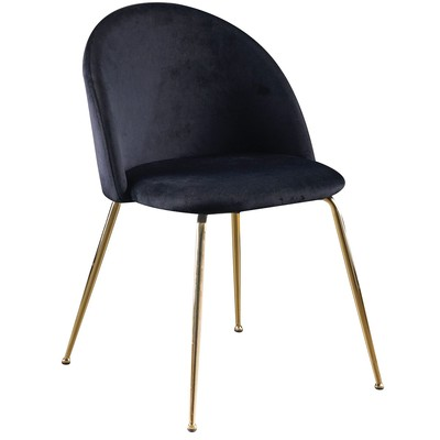 Giovani velvet stol - Svart / Mässing