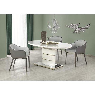 Evangeline ovalt matbord 140-180 cm - Vit högglans / Krom