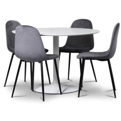 Seat matgrupp, runt matbord med 4 st Carisma sammetsstolar - Vit/Grå