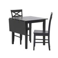 Matgrupp: Sander bord med klaff - Svart - 75 / 110 cm + stolar
