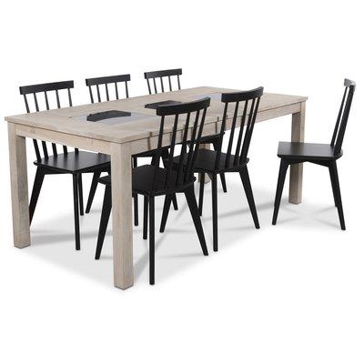 Jasmine matgrupp med bord i whitewash och 6 st svarta Linköping Pinnstolar